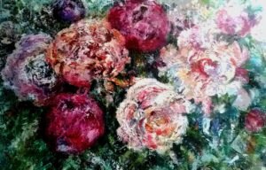 Rich textured oil painting on canvas.